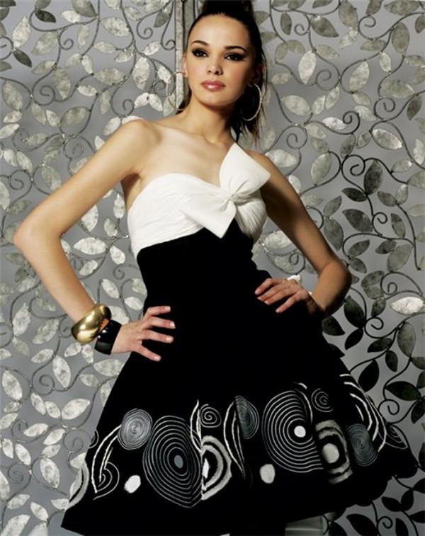 Фото вечерних черно белых платьев